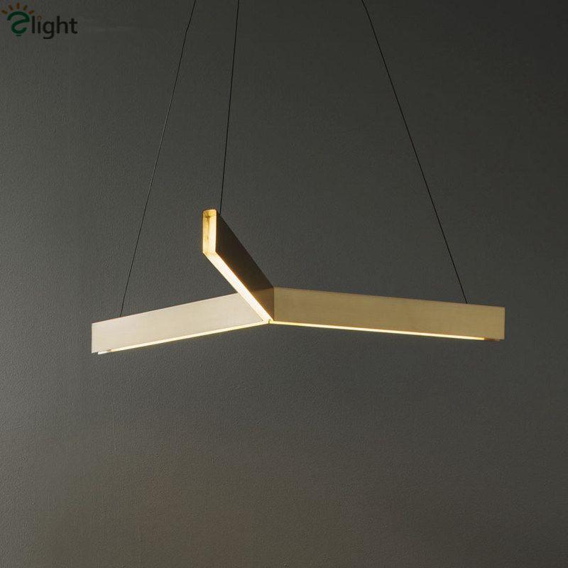 Post Moderne Resident Gold Led Tri Anhänger Licht Foyer Led Dreieck Hängen Licht Einstellbar Led Suspension Lampe