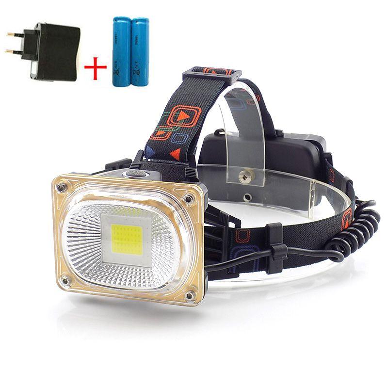 COB Led-scheinwerfer Scheinwerfer Weiß Blau Rot Beleuchtung USB Wiederaufladbare frontale Stirnlampe Lampe led-licht für angeln 18650 batterie