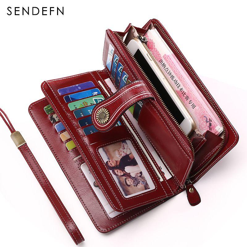 Large Capacity Split Leather Card Holder Quality Wallet Long Women Wallet Zipper Clutch Casual Zipper Retro Purse Women