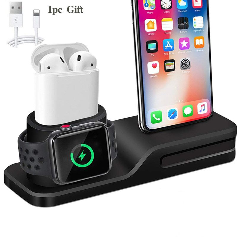 3 en 1 support de Dock de chargement pour Iphone X Iphone 8 Iphone 7 Iphone 6 Station de Dock de support de charge de Silicone pour Apple watch Airpods