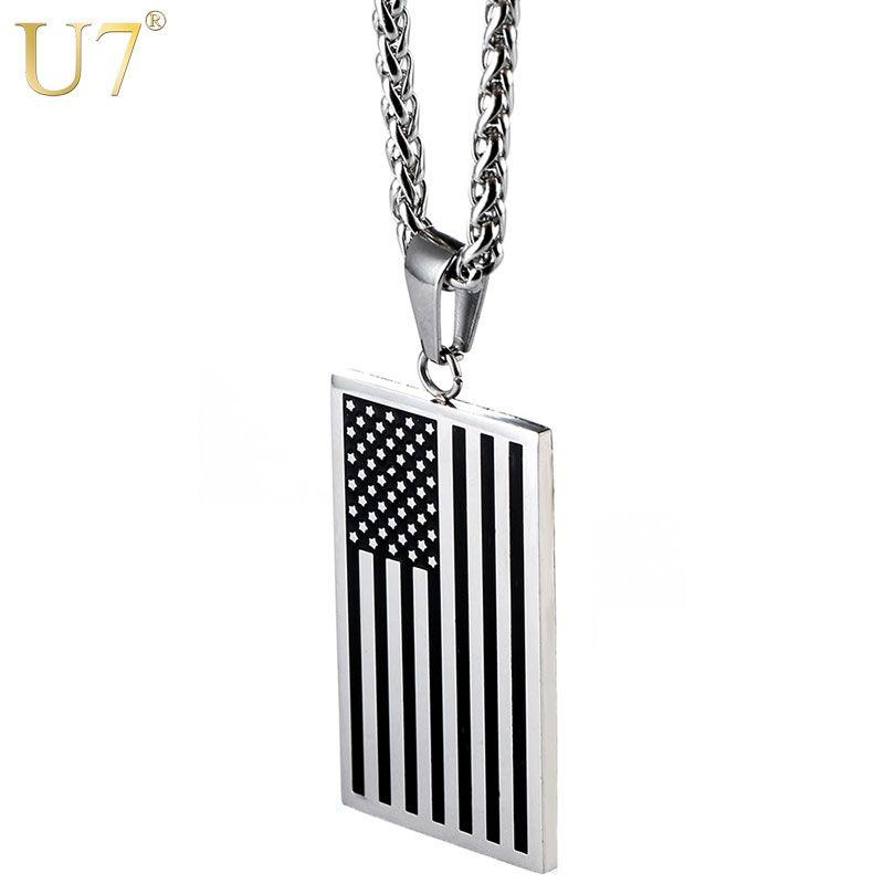 U7 drapeau américain, USA Patriot Freedom Stars et rayures 4th of july chien Tag pendentif collier, cadeau, bijoux pour hommes, acier inoxydable, P72