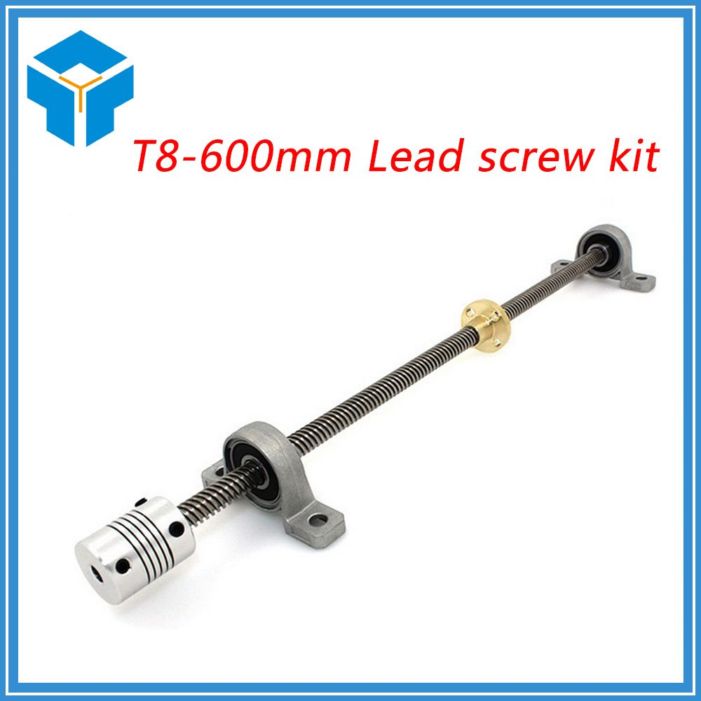 T8*8 Lead screw 600mm 8mm spacing 2mm+ brass copper nut + KP08 bearing Bracket +5*25*8mmFlexible Coupling for 3D printer&CNC