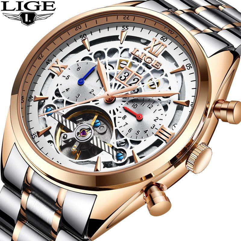 Mechanische Uhr LIGE Top Marke Luxus Männlichen Automatische Uhr Männer Casual Leder Militärische Wasserdichte Sport Uhr Relogio Masculino