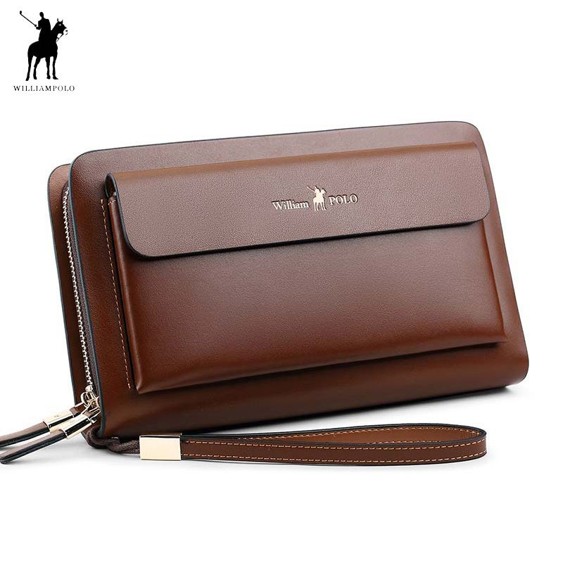 Business Mens Brand Clutch Bags WILLIAMPOLO Real Leather Phone Credit Card Organizer Large Wallet 2018 Fashion Zipper Hand Bag