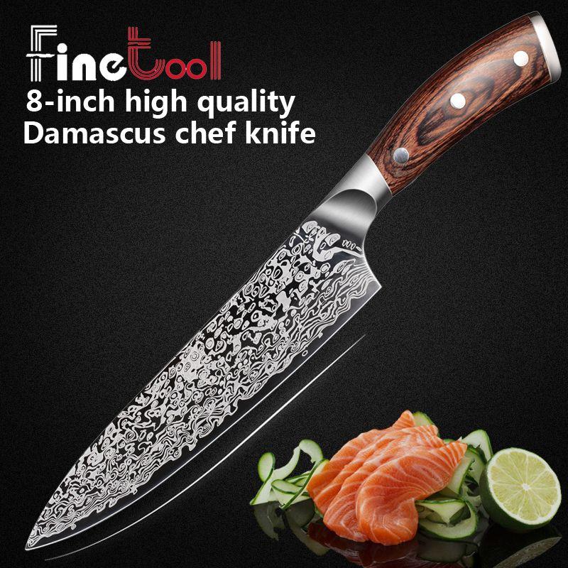 Couteau de cuisine 8 pouces professionnel Chef couteaux japonais 7CR17 440C haute teneur en carbone en acier inoxydable viande Santoku couteau Micarta poignée