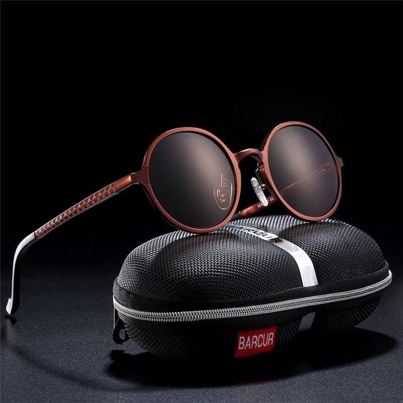 BARCUR Chaude Noir Lunettes Mâle lunettes de Soleil Rondes De Luxe Marque Hommes Lunettes Rétro Vintage Femmes lunettes de Soleil UV400 Rétro Style