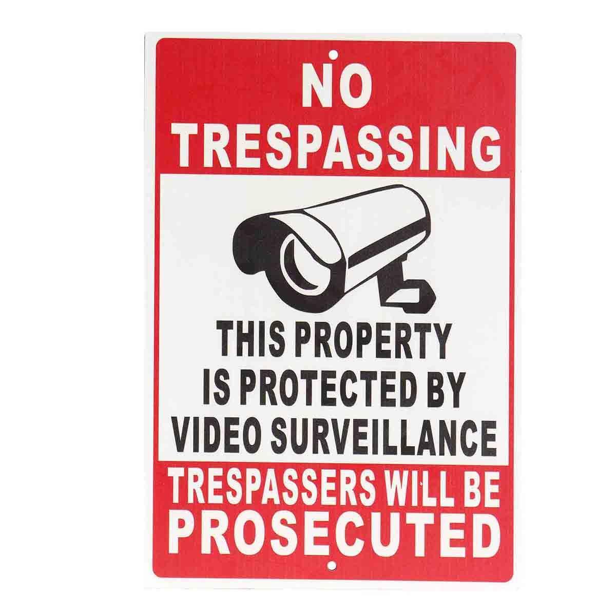 NEUE KEINE Trespassing Eigentum Geschützt Durch Videoüberwachung Sicherheit Kamera Metall Zeichen