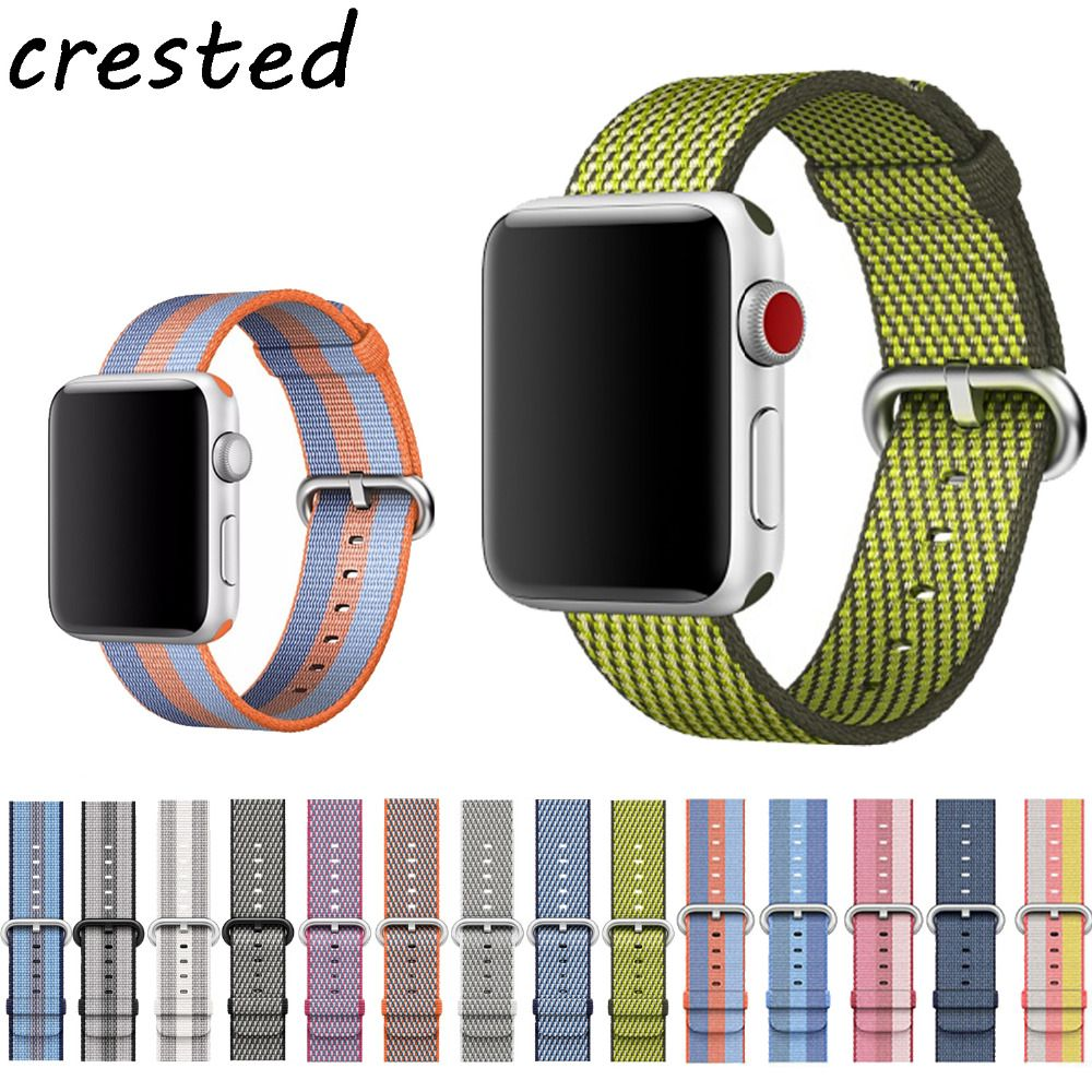 CRESTED Sport woven nylon strap for apple watch band 42mm 38mm wrist bracelet belt fabric-like nylon band for iwatch 3/2/1 38mm
