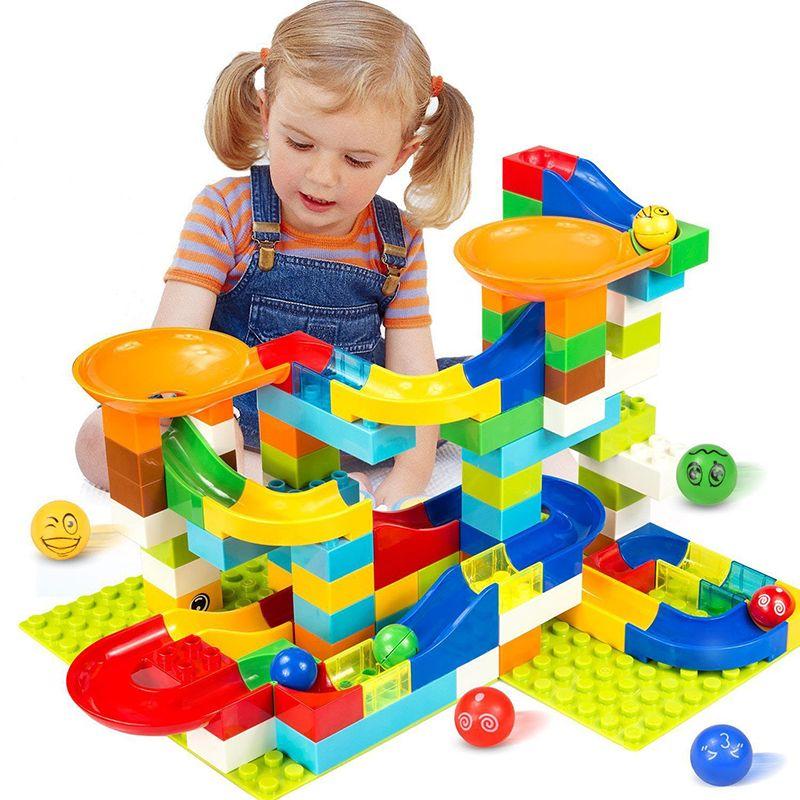 104-208 pcs Marbre Course Run Labyrinthe Balle Piste Blocs de Construction En Plastique Entonnoir Glisser Grand Taille Briques Compatible Legoingly duplo Bloc