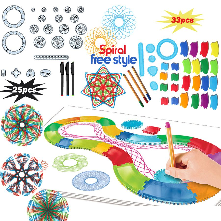 Spirograph Drawin toy set 22/30PCS Accessories  with 3 pens,Creative Spiral Designs Painting Learning Educational toys for kids