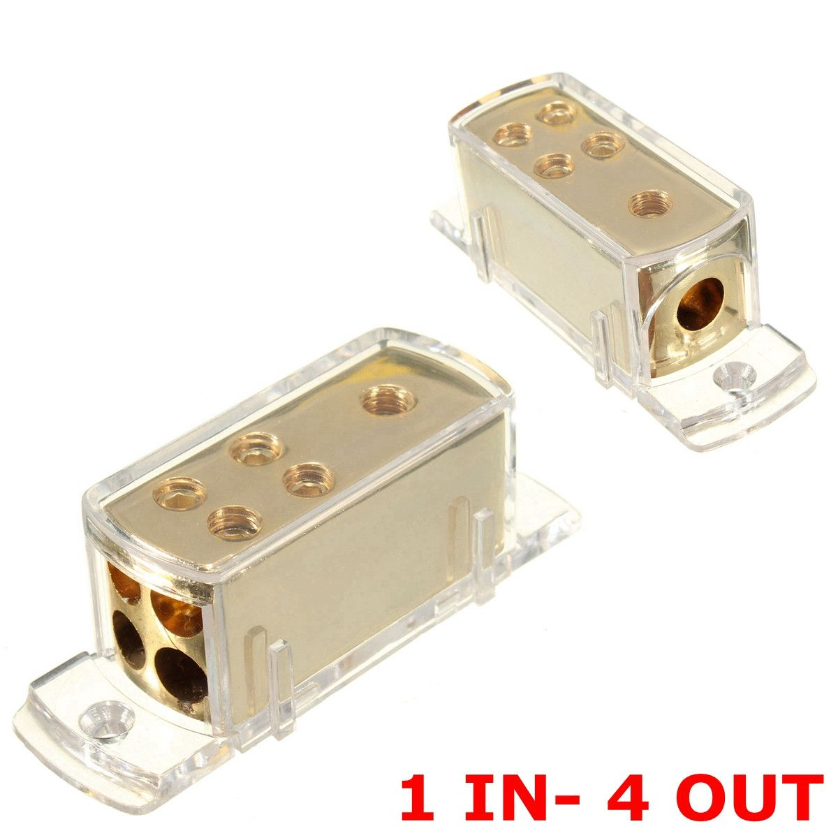 Newest 4 Ways Car Audio Stereo Amp Power Ground Cable Splitter Distribution Block