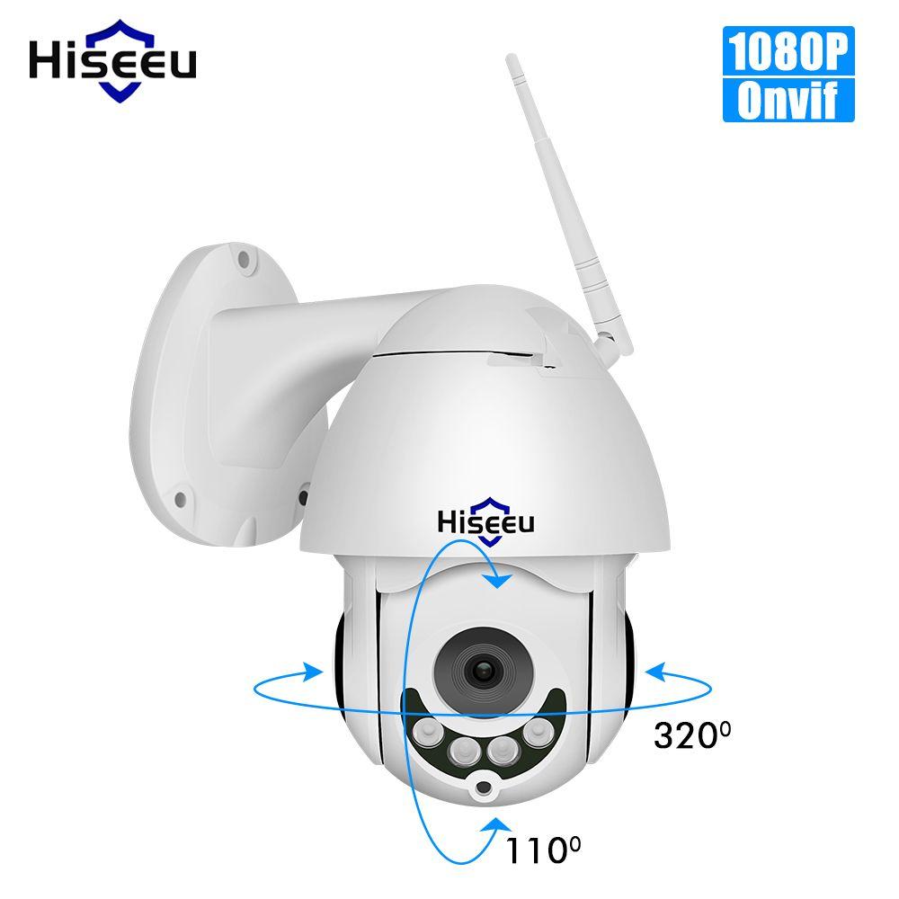 Hiseeu PTZ WIFI IP dôme caméra 1080P extérieur étanche 2MP sécurité vitesse caméra TF carte sans fil IP Cam App vue