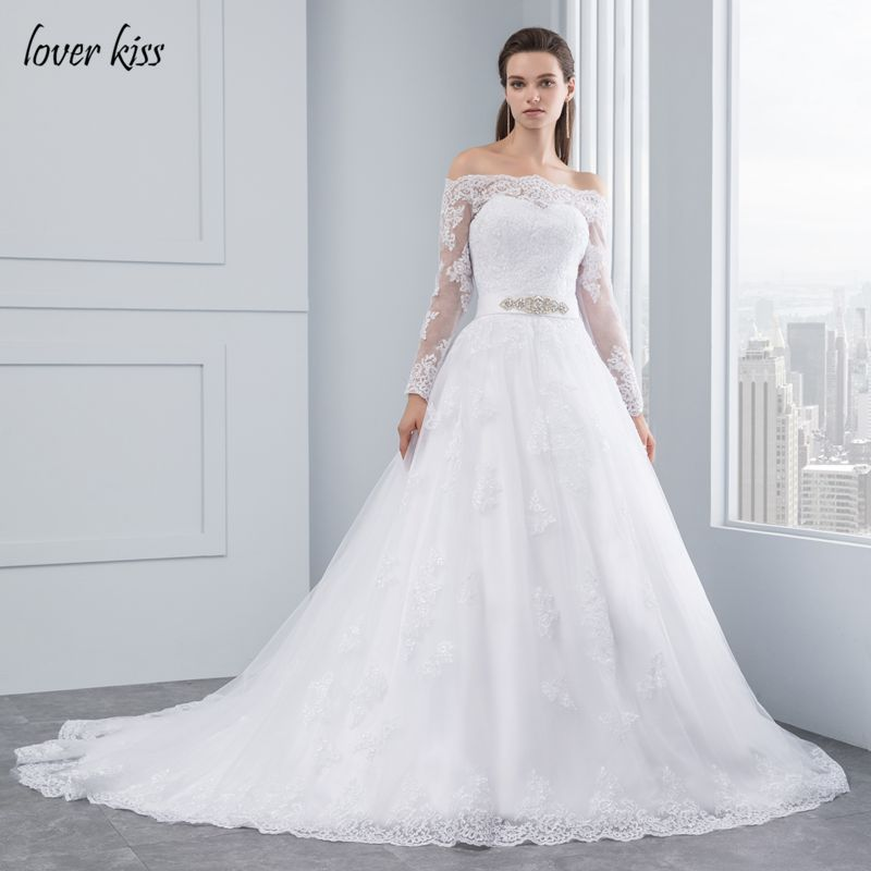 Lover Kiss Wedding Dresses 2018 Princess Lace Bridal Bride Gowns Luxury Vintage Long Sleeves Off The Shoulder robe de mariage