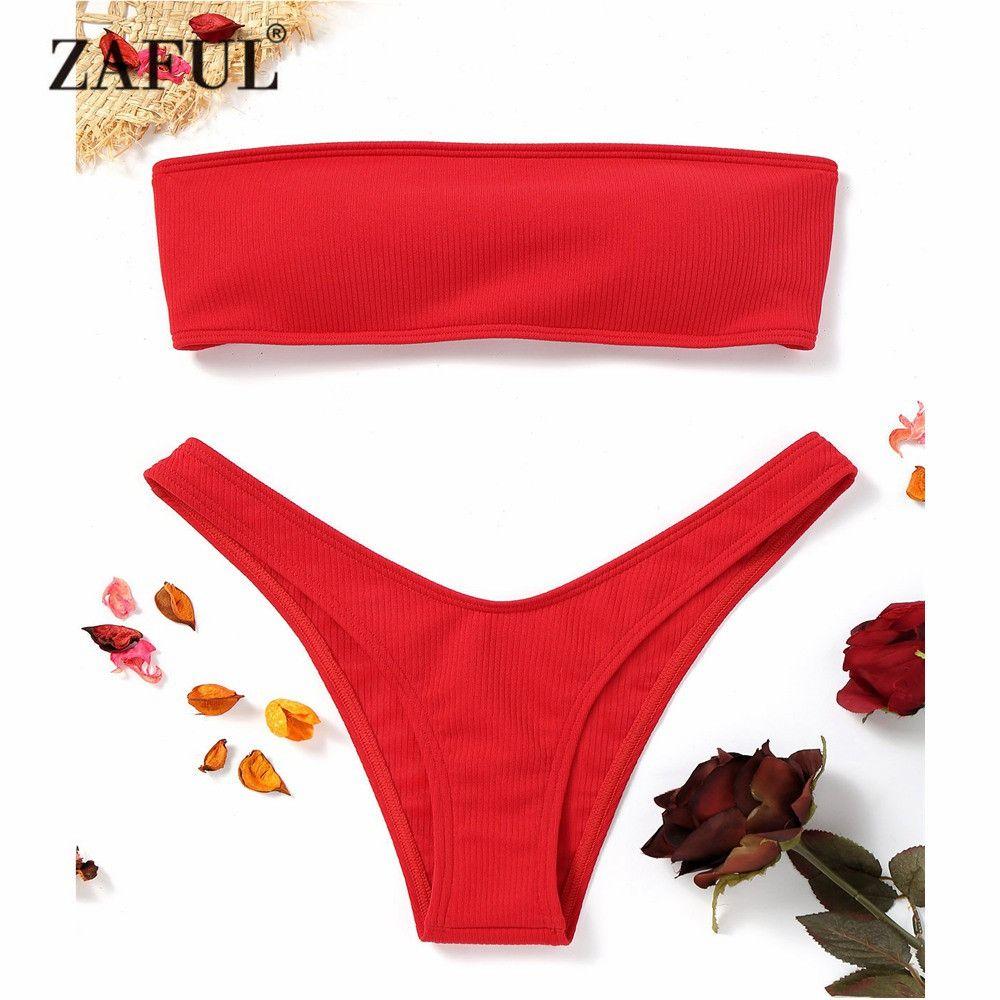 ZAFUL New Women Ribbed High Cut Bandeau Bikini Set Swimwear Women Swimsuit Strapless Bikini Padded Bathing Suit Brazilian Biquni