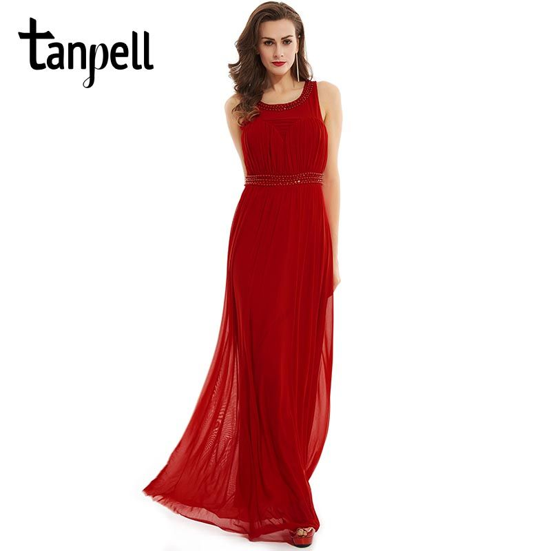 Tanpell scoop long evening dress red sleeveless a line floor length gown black crystal beaded ruched prom formal evening dresses