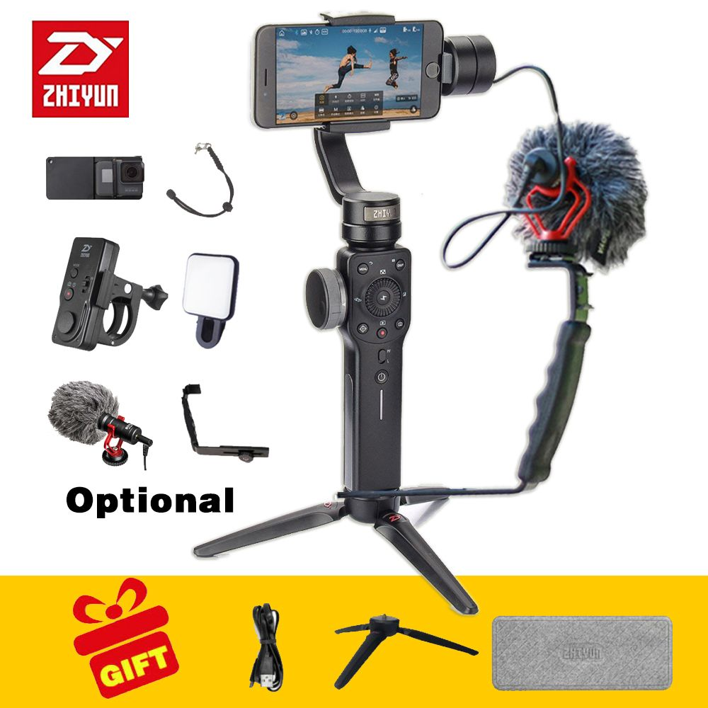 Zhiyun smooth 4 Handheld 3 Axis phone gimbals Stabilizer for action camera Smartphone gopro xiaomi yi 4k sjcam cam