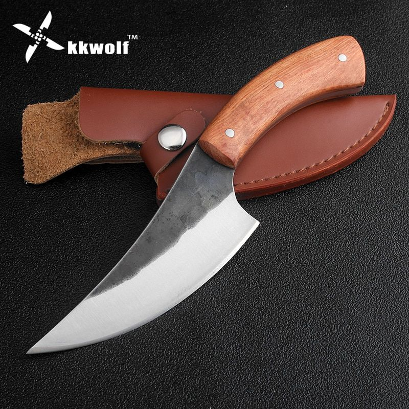 KKWOLF High-carbon steel fixed hunting knife Beef Pork knife 58HRC Rosewood handle sharp survival camping tactical rescue knives