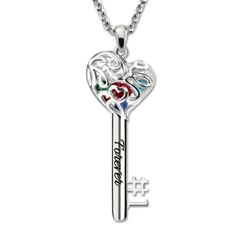 No.1 MOM Heart Cage Key Necklace With Birthstones White Gold Color Necklace Women Fashion Jewelry for Mother