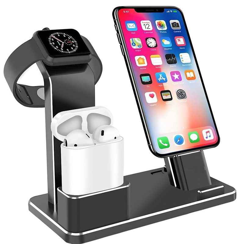 Metal Charger Dock Stand Holder For Iphone Airpods Apple Watch Aluminium Alloy Stand For Iphone X Cable Organizer Station Holder