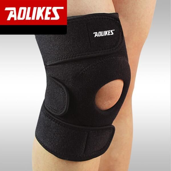 AOLIKES 1 pcs Réglable Genouillères Sport Football Basket-Ball Volley-Ball Jambe Genouillère Rotule Protecteur Tampons