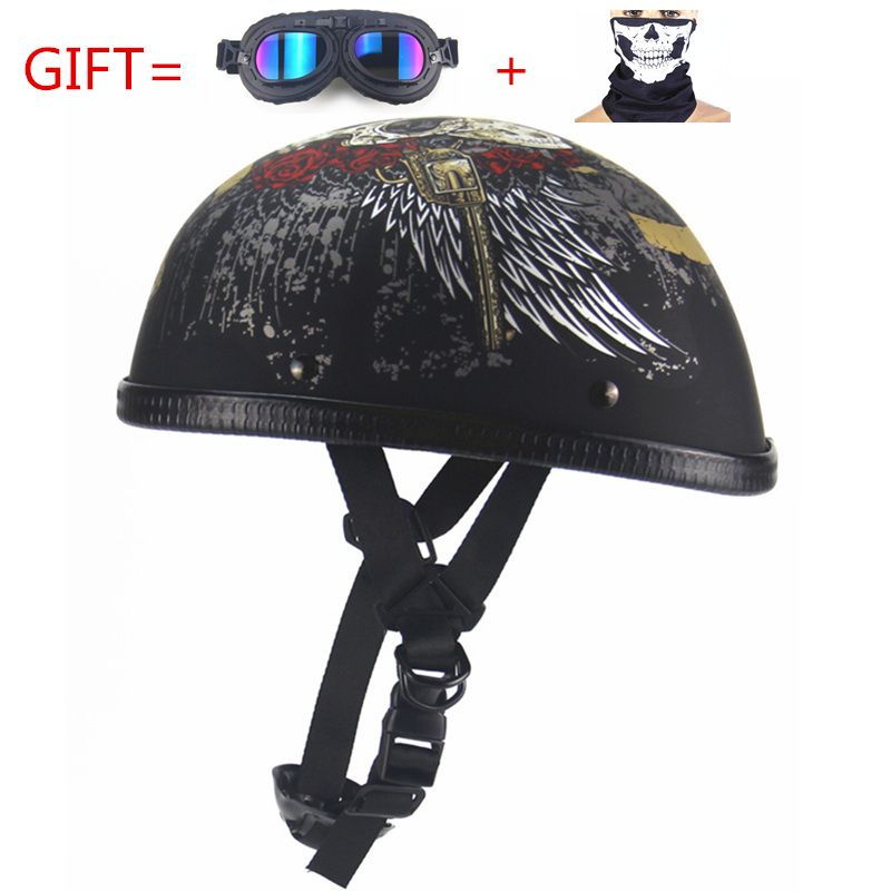 Free Shipping Motorcycle Helmets Bike Bicycle Helmets Open Half Face with Visor Goggles Retro Vintage Style