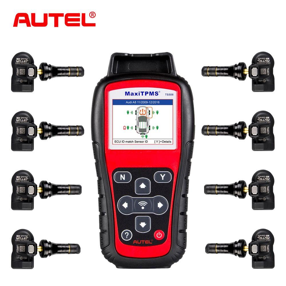 Autel MaxiTPMS TS508K TPMS Diagnostic Tool tire pressure monitoring system reset with 8pcs programmable 433MHz tpms MX-Sensor
