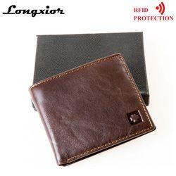 MRF1 RFID Memblokir Dompet Pria Asli Kulit Sapi Vintage Dompet Tas Uang Perlindungan Pencurian Identitas Kartu Pemegang Clutch Dompet