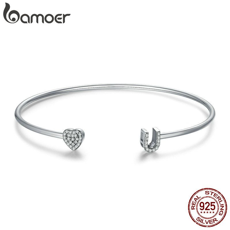 BAMOER 100% 925 Sterling Silver I Love You Clear CZ Heart Adjustable Cuff Bangle for Women Luxury Sterling Silver Jewelry SCB044