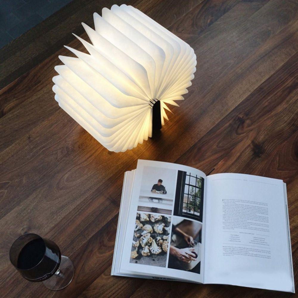 Innovante USB Rechargeable LED Pliable En Bois Livre Forme Bureau Lampe Veilleuse lampe de Lecture pour La Maison Décoration Lumière Blanche Chaude