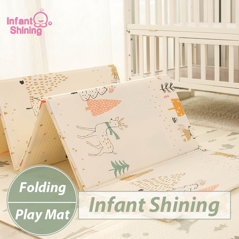Infant Shining Kids Play Mat Folding Puzzle Playmat Game Pad for Infants 200*150*1cm Foam Crawling Mat Pack and Play Mattress