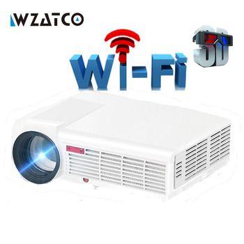 WZATCO светодио дный LED 96 Вт Луна светодио дный светодиодный проектор 5500 люмен Android Smart Wi Fi ЖК дисплей 3D Full HD 1080p дома Театр Кино Видео Proyector