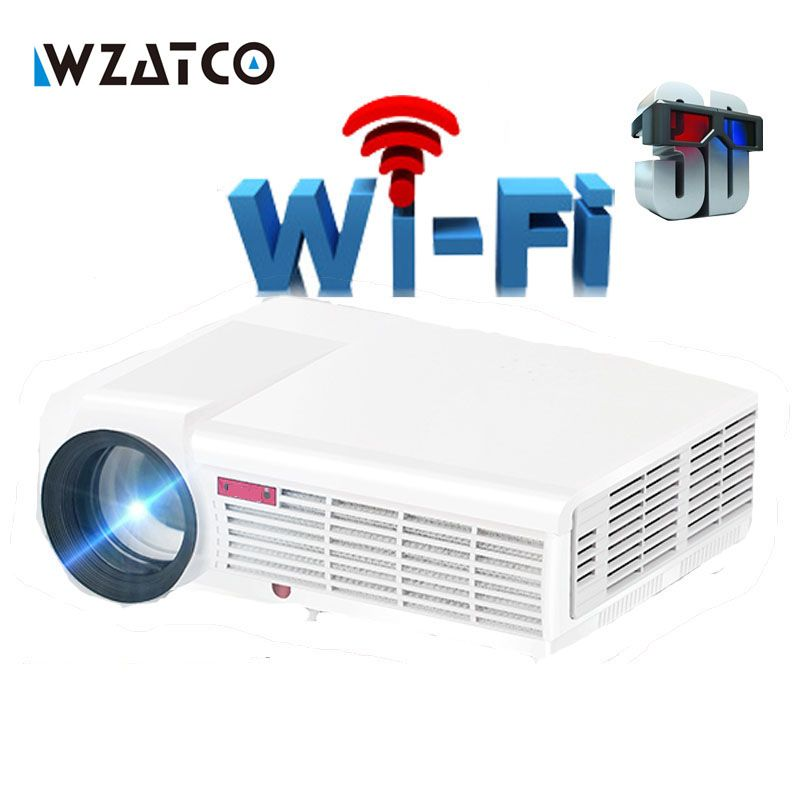 WZATCO 5500Lumen <font><b>Android</b></font> Smart Wifi 1080P Full HD LED LCD 3D Video DVBT TV Projector portable Multimedia Home cinema Beamer