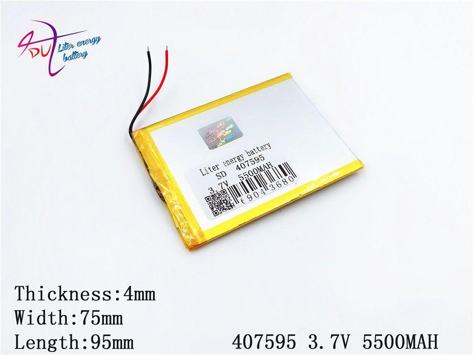 407595 5500 mah Li-ion tablette Pc pour 7,8, 9 pouces 3.7 v polymère Lithiumion de haute qualité