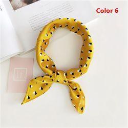 Verano mujeres moda elegante amarillo pequeño cuadrado Vintage seda satén bufanda Skinny Retro cabeza cuello del lazo del pelo accesorios