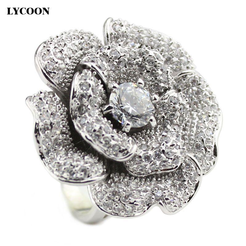 LYCOON mode femme marque de luxe grande rose fleur Zircon anneaux de haute qualité en argent plaqué avec CZ cubique Zircon anneau costume fête