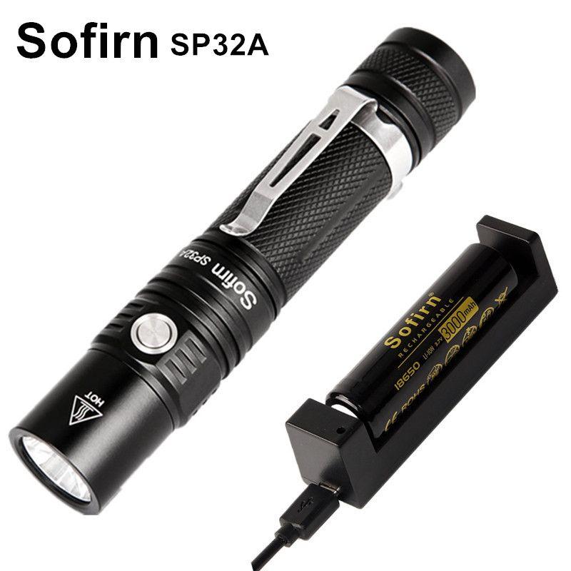 Sofirn SP32A Kit Mini Puissant LED lampe de Poche 18650 Cree XPL2 Continu Gradation LED lampe de Poche Portable 6 Modes lampe Torche Camp