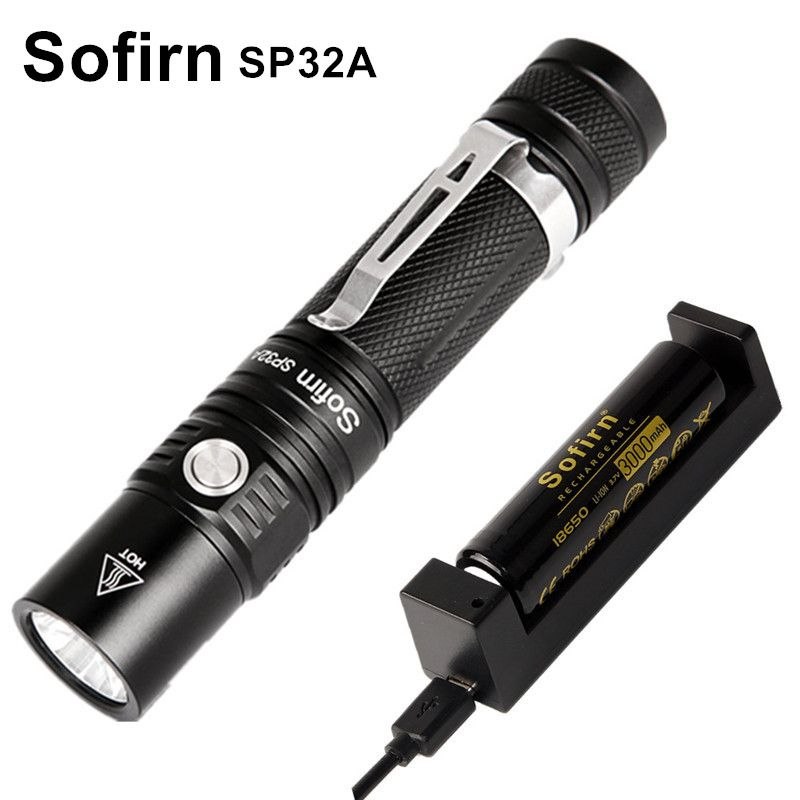 Sofirn SP32A Kit Powerful LED Flashlight 18650 Cree XPL2 1550LM Portable 6 Modes Torch light Lantern Stepless Dimming Waterproof