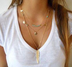 Mode chaude Or Couleur Multicouche Coin Glands Lariat Bar Colliers Perles Ras Du Cou Plume Pendentifs Colliers Pour Les Femmes Bijoux