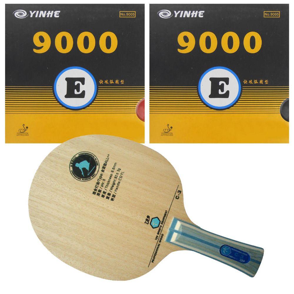 Pro Tischtennis Combo Paddle Schläger: RITC729 C-3 Klinge Lange Shakehand-FL mit 2x Galaxy YINHE 9000E Gummis