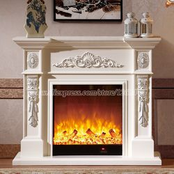 living room chimneypiece decorating warming fireplace W120cm wooden fireplace mantel electric fireplace insert LED flame