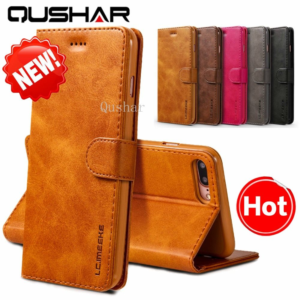 Retro Fundas for iPhone XS Max Xr X 8 7 6s 6 Plus Flip Phone Cas Luxury Leather Genuine for iPone SE 5S 5 Wallet Full Cover Cage