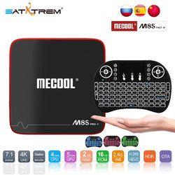 SATXTREM MECOOL M8S W PRO Android 7,1 TV caja Amlogic S905W Quad Core 2 GB RAM DDR3 16 GB inteligente TV Box WiFi 4 K H.265 Set Top Box