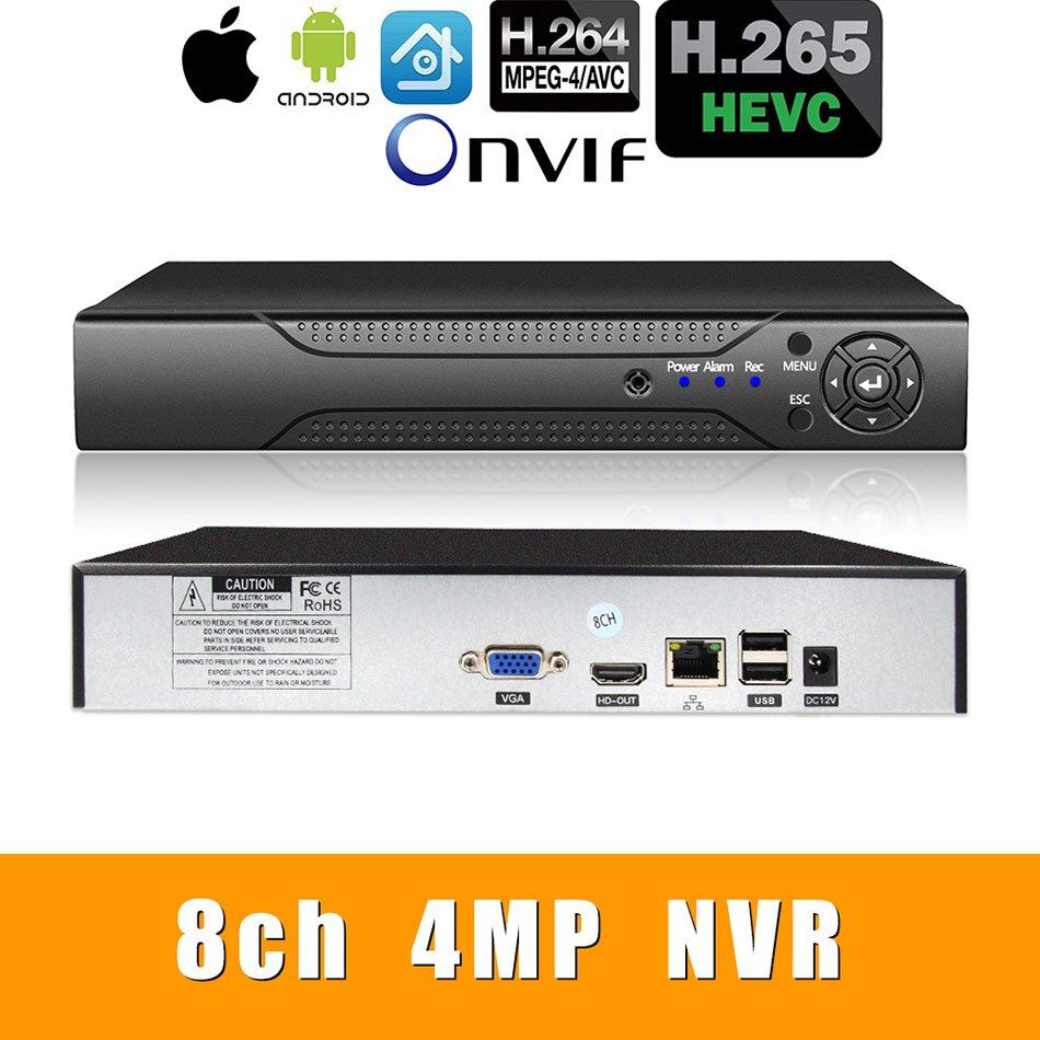 H.265 +/H.264 8ch * 4.0MP/4ch * 5.0MP/8ch * 1080P NVR Netzwerk Vidoe Recorder 1080 P/720 P IP Kamera mit SATA Linie ONVIF CMS XMEYE