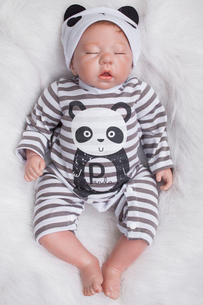 20inch Soft Silicone Reborn Baby Doll Toys Lifelike Newborn Sleeping Boy Baby-Reborn Doll Kid Birthday Gift Play House Toy