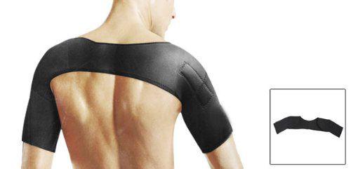 Hot! Men Elastic Neoprene Double Sleeves Magnetic Shoulder Support Black