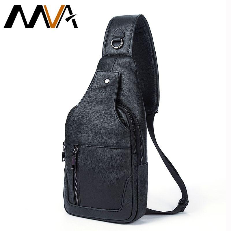 MVA Genuine Leather Men Bag Men Messenger Bags Small Waist Pack Leather Shoulder Crossbody Bags for Man Belt Sling Chest Bag