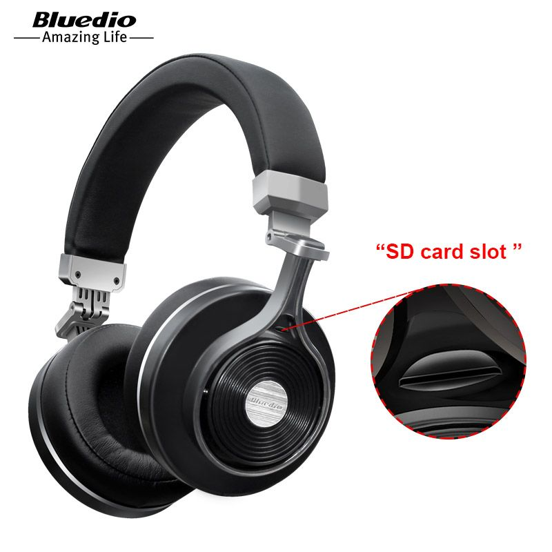 2017 Real Earphone Bluedio T3+/T3 Plus Original Bluetooth Headphones Wireless Headset with Sd Card Slot for music headphone