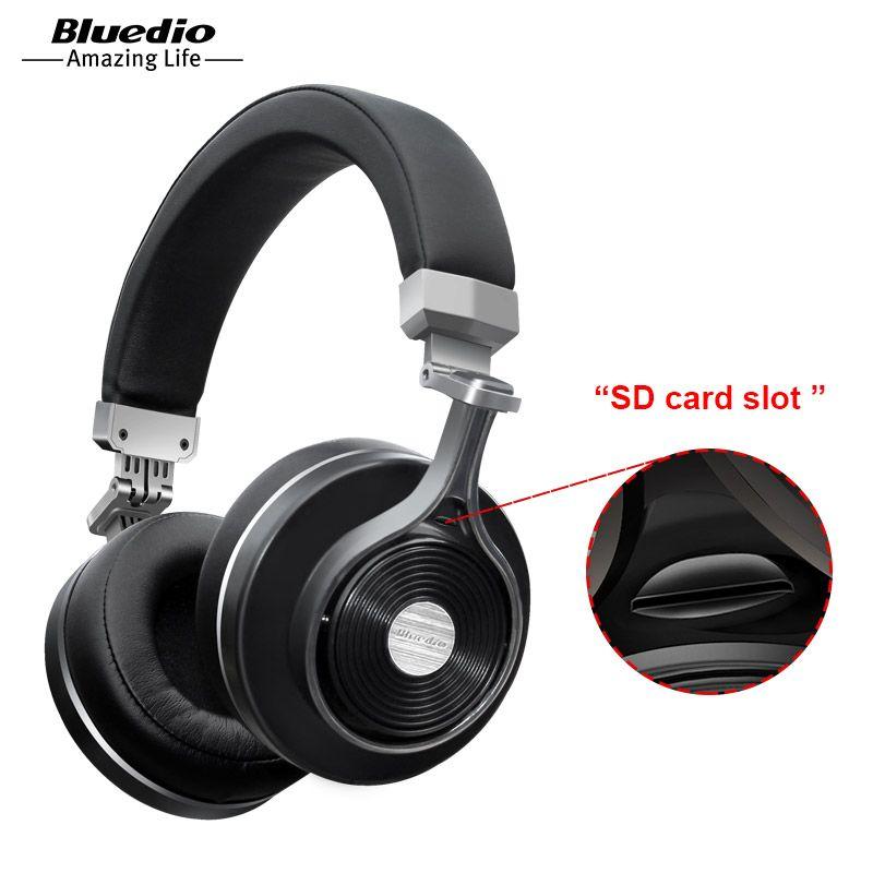 2017 Real Earphone Bluedio T3+/T3 Plus Original Bluetooth Headphones Wireless Headset with Sd Card Slot for music headphone