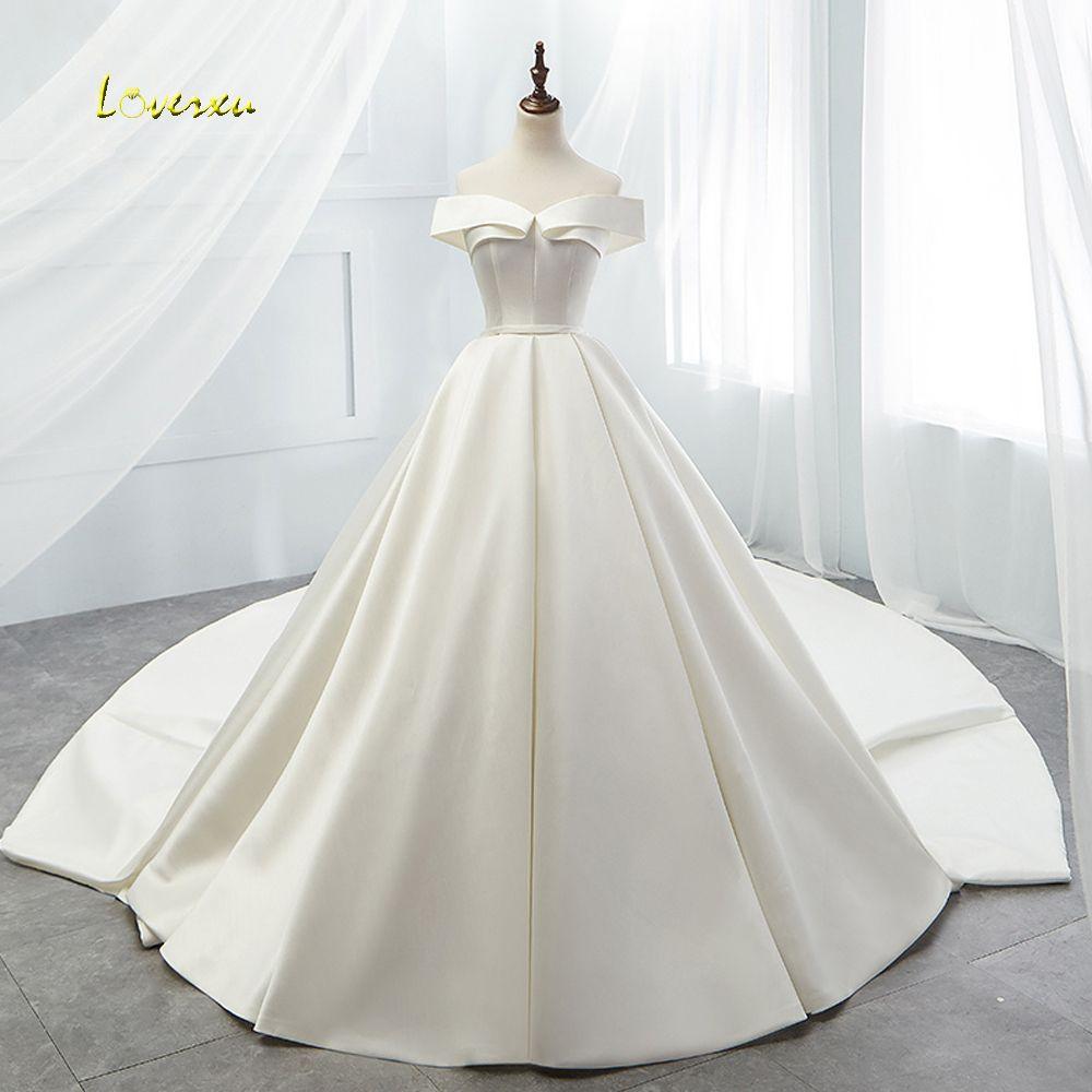 Loverxu Vestido De Noiva Sexy Boot-ausschnitt Vintage Hochzeit Kleid 2019 Kapelle Zug Einfache Matte Satin EINE Linie Brautkleid plus Größe