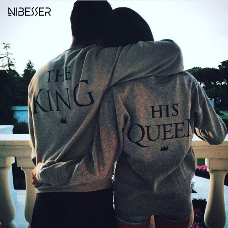 2017 Couple Hoodie Sweatshirt Women Letter Printed Pullover Pattern Sweatshirt King Queen Hoodies Couple Hooded Women Female 3XL